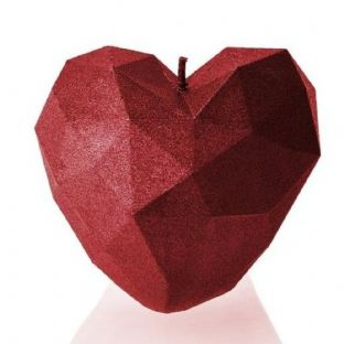 Candellana - Heart Low Poly Candle - Metallic Red